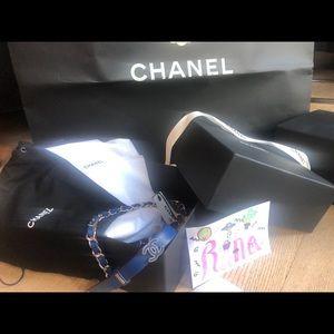 CHANEL Lambskin CC Chain Belt Sz90 36 Blue Silver